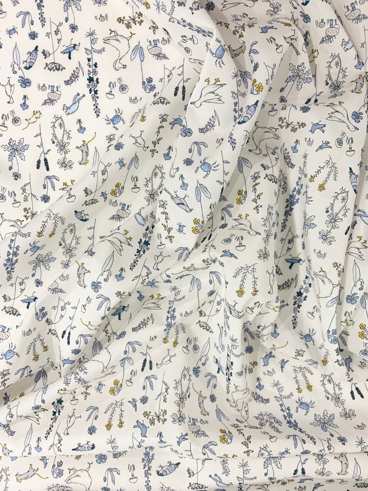 Literie faite avec le tissu Liberty Theo Bleu