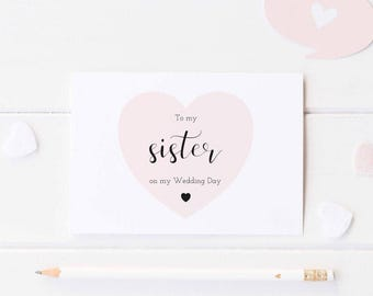 To My Sister On My Wedding Day Card