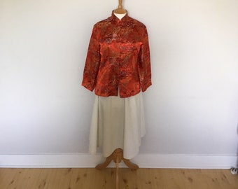 Beautiful 1970s Vintage Red Silk Chinese Jacket in with embroidery and Knotted Button closure
