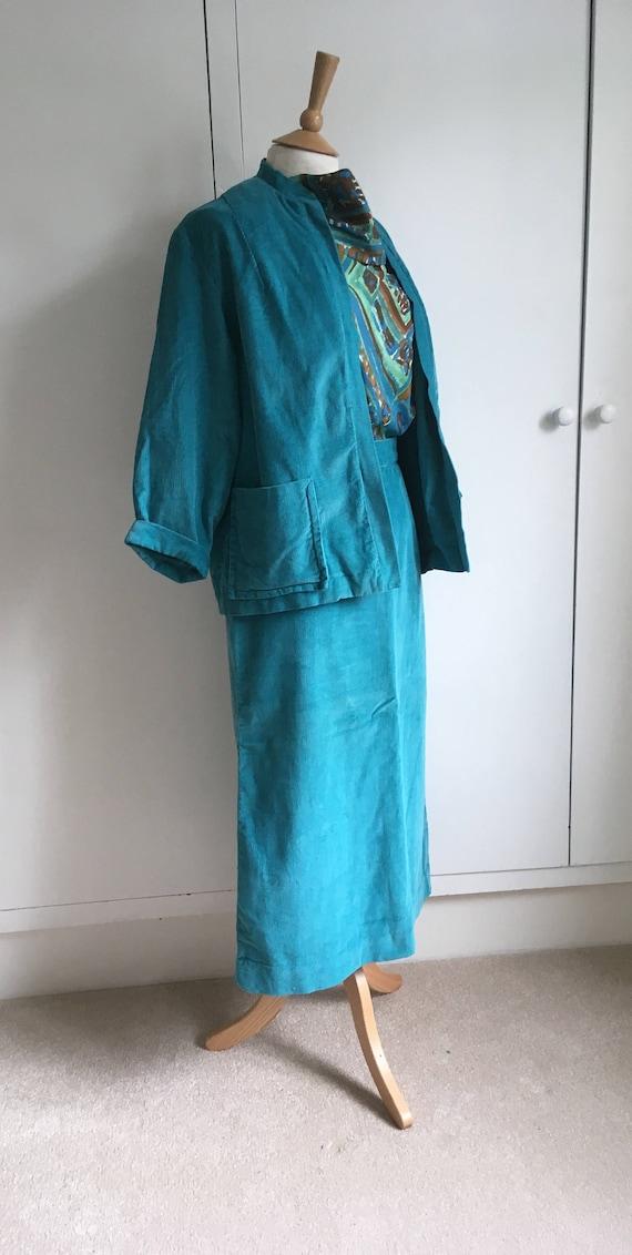 Turquoise corduroy 1960/ 70s pencil skirt suit Siz
