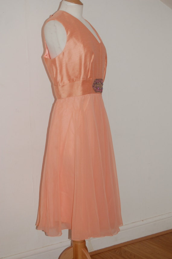 1960s peach chiffon silk party dress with rhinesto