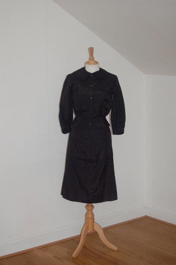 40's/50's shiny rayon skirt and jacket set with ni