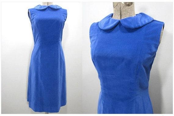 1960s vintage electric blue velvet shift dress wi… - image 3