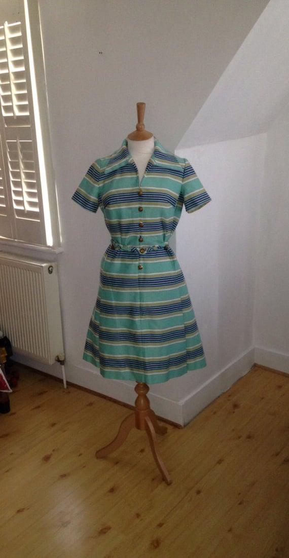 50s/60s aqua stripe - Nancy Greer dress