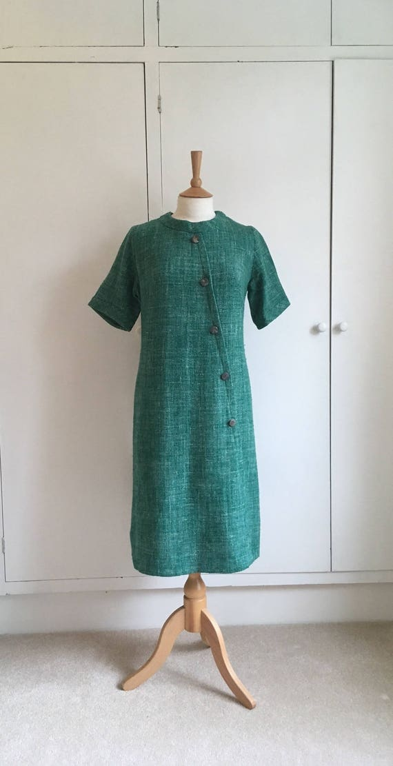 Vintage 1960s emerald green short sleeved woolen s