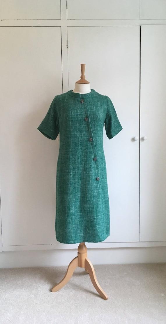 Vintage 1960s emerald green short sleeved woolen s
