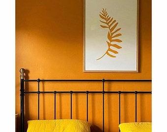 Yellow fern giant silhouette ochre yellow original screenprint minimalist botanical leaf art