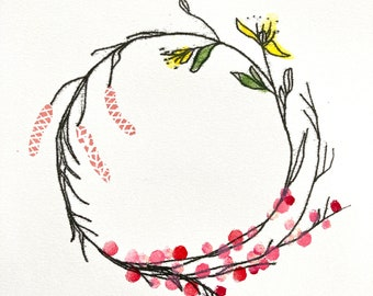 Spring wreath minimal l hand printed botanical inspired original art