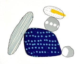 Pebble play minimal original art screenprint monoprint turquoise hand printed