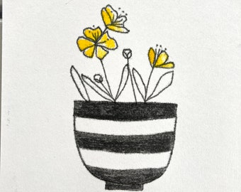 Buttercups and stripes an original hand printed botanical inspired art print mono printed and block printed. Black and white pot.