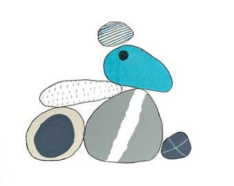 Pebble formation minimal original art screenprint monoprint turquoise hand printed