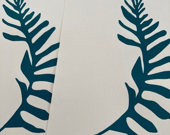 Ocean Blue fern large silhouette teal blue green original screenprint minimalist botanical leaf art