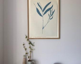 Buddleia grey blue silhouette, original bold botanical art print, minimal hand carved and printed lino. Plant leaf art.