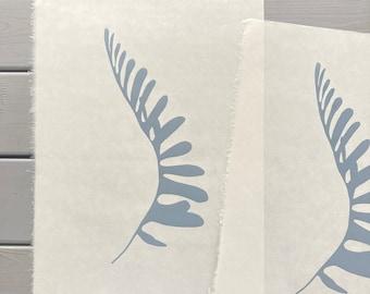 Grey Rusty back fern, silhouette, bold botanical original art print, minimal hand carved and printed lino. Fern art.