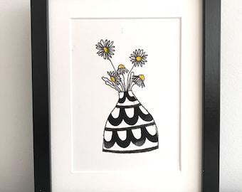 Daisy's an original hand printed botanical inspired art print mono printed and block printed. Black and white Swedish pot.