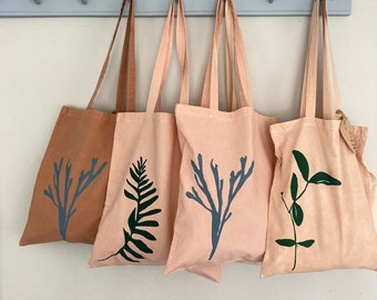 Pink leaf tote bag hand dyed in natural Avocado organic cotton green leaf beach bag