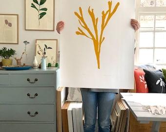 Seaweed giant silhouette yellow ochre original screenprint minimalist botanical