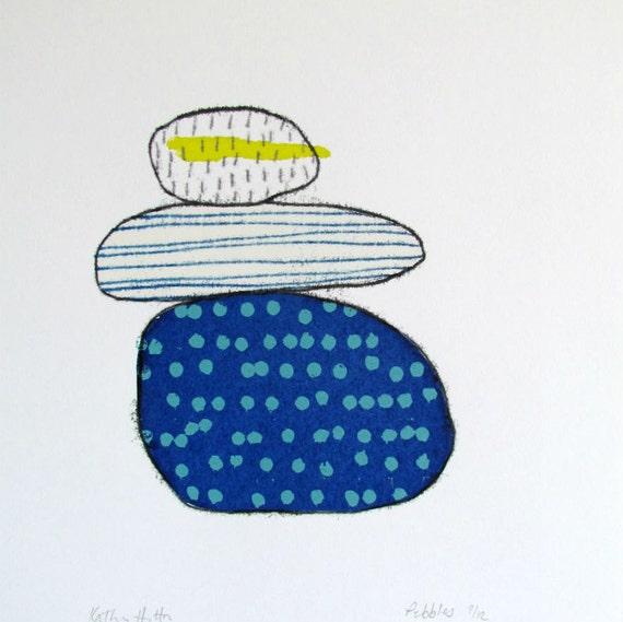 Minimalistic Coastal Pebbles Print Handmade Original Etsy