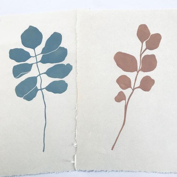 Pair Of Simple Mimimal Leaf Block Prints On Handmade Japanese Etsy