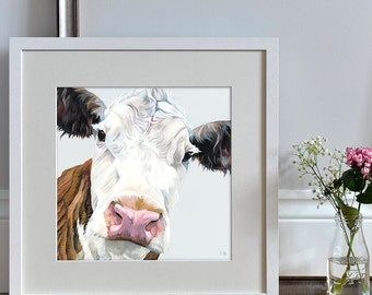 Beth - Hereford Cow - Neutral Colour - Lauren's Cows - Art Print - Country Art - Kitchen Art - Present for Farmer - Gift for Him