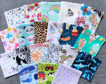 Kids Reusable Lunchbox Napkins - Personalized - Variety of Fun Prints on Soft Flannel