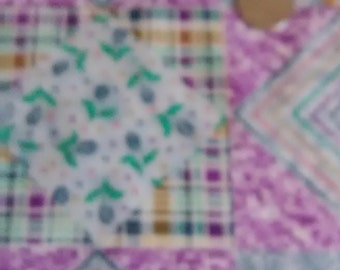 FABRIC BLOCKS TRIANGLES/ One Yard Colorful Piece With Stripes, Plaids and Flowers