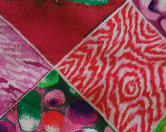 "QUILT SQUARES PRECUT/ 5""x 5"" Squares/ 6 Different Patterns/ From 4 To 16 Squares Per Pattern/ Total Squares38/ Batik Pur/Pink/Plain, Floral"
