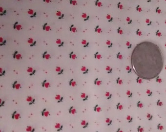 FABRIC BEIGE BACKGROUND With Tiny Red Hearts Atop/A Two and One Half Yard Piece/ Cotton