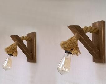 Applique legno recuperato con la corda lampada da parete di etsy