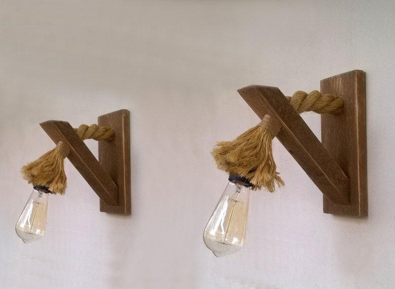 Coppia di applique con la corda il applique legno rigenerata etsy