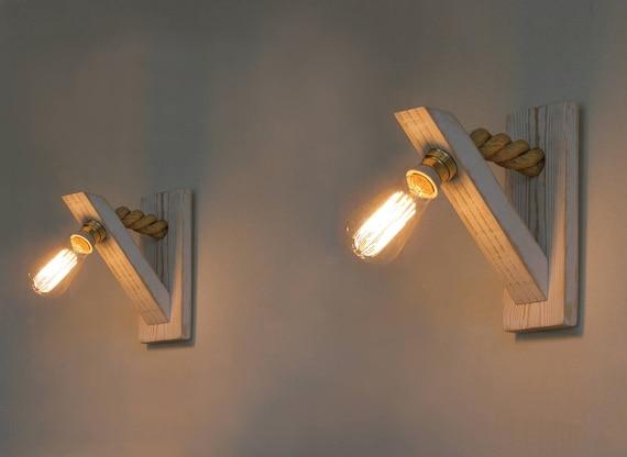 Coppia di lampada da parete applique legno con corda corda etsy