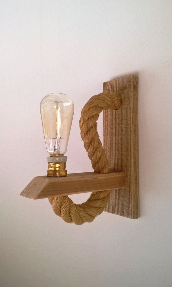Reclaimed Wood Sconce With Rope Rope Wall Lamp Lighting Etsy