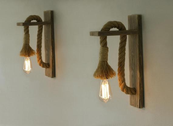 Coppia di applique legno rigenerata con corda corda parete etsy