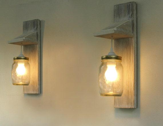 Coppia di lampada da parete applique legno rigenerata mason etsy
