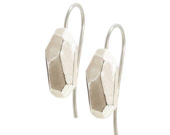 Earring Faceted 925 sterling silver: rocky Pierced earrings White