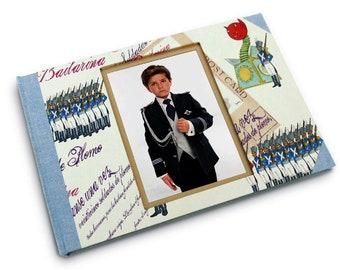 Libro de firmas soldaditos grande con marco de foto. Regalo de comunión. Regalo para niño.