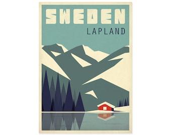 Travel poster, Sweden, Lapland, Housewarming gift, Retro art print, hiking, Scandinavia, Scandinavian landscape, Nordic poster, mountains