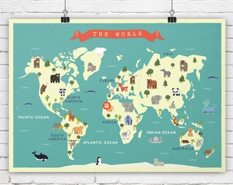 Nursery map etsy nursery world map animals map map for nursey map for children map art print continents map travel theme nursery world map poster gumiabroncs Image collections