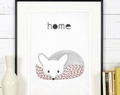 Retro poster, fox, vixen, forest animals, scandinavian style, simple line, for home, vintage print, A3, wall decoration, retro wall decor