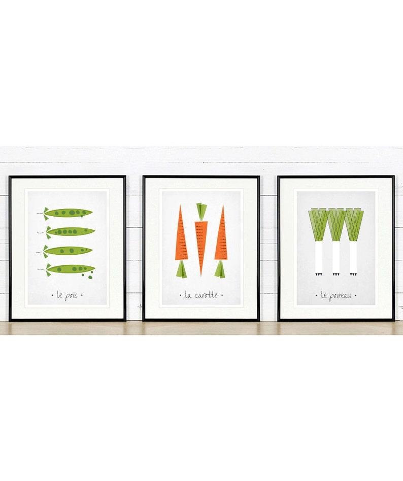 Plakat Retro Warzywa Sztuki Kuchnia Marchew Groszek Porów Minimalistyczny Design Francuski Kuchnia Obraz Druk Artystyczny Dekoracje Na