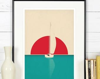 Sailboat art print, nautical wall decor, retro travel poster, minimalist wall art, sunset, sea sailing, lake, ocean, boat on water, yacht