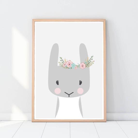 Hase mit Blumen Kaninchen Kinderzimmer Tiere Wald Tiere | Etsy