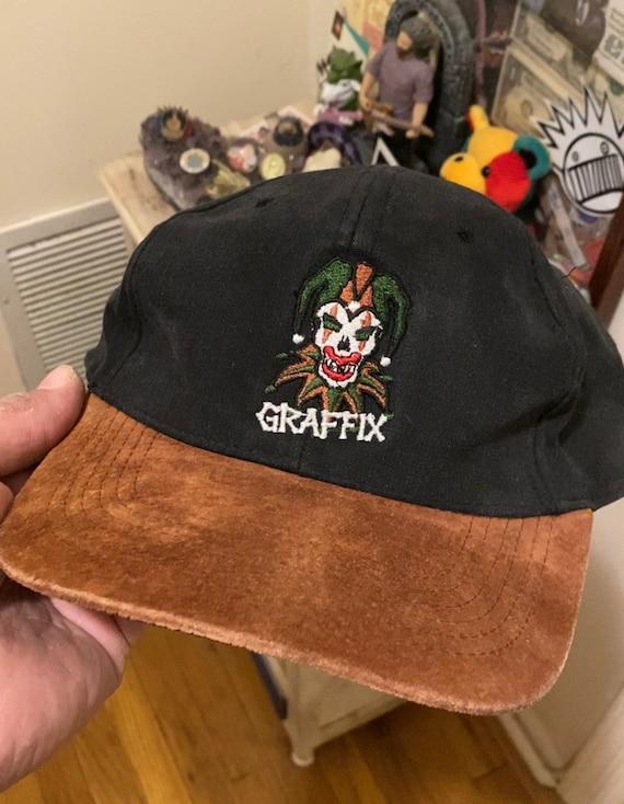 Vintage 90s Graffix Jester Logo Suede Bill Snapbac