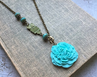 Patina Owl and blue flower necklace, owl necklace, flower necklace, turquoise, asymmetrical necklace, unique jewelry, woodlands, romantic