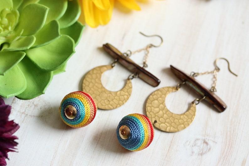Brass Moon /& Rainbow Dangle Earrings  upcycled repurposed jewelry geometric bohemian hippie gypsy gold jewelry statement earrings summer