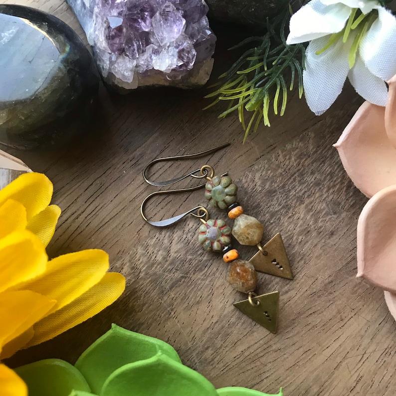 Stamped Bronze Triangle Czech Glass Beaded Earrings  bohemian jewelry artisan jewelry fall earrings orange brown tribal gemstone jasper