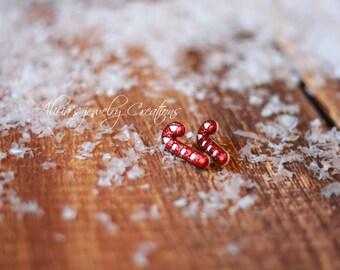 Glitter Candy Cane earrings, Christmas earrings, Holiday earrings, Post earrings, Candy Earrings, Christmas jewelry stocking stuffer kitsch