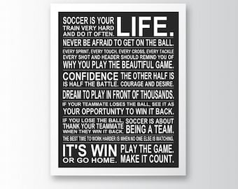 Soccer Is Your Life - Special Edition Blackout Manifesto Poster Print