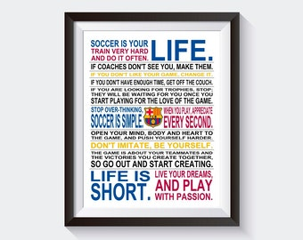 Soccer Is Your Life - FC Barcelona | Limited Edition | Soccer Poster | Soccer Wall Art | Boys Soccer Gift