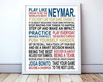 Play Like Neymar - Soccer Poster | Neymar | Inspirational Manifesto | Gift for Soccer Players | Soccer Gift | Soccer Player Art